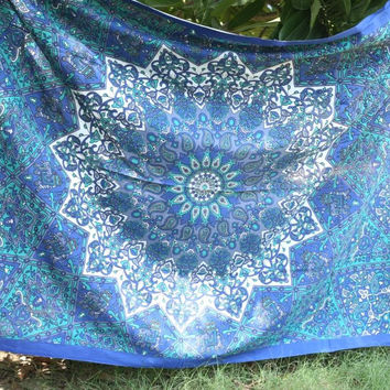MANDALA BLUE STAR ELEPHANT TWIN WALL HANGING PICNIC BEACH BLANKET