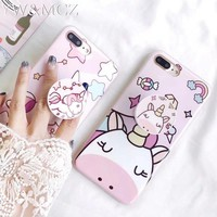 Pop Holder Unicorn Silicon Case For iPhone X XS Max XR Cute Girl Cover For iPhone 6 s 7 8 plus Women Mobile Phone Case Unicorn