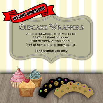 INSTANT DOWNLOAD Princess Crown With Gems Cupcake Wrappers