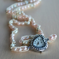 Valentines Pink Pearls Heart Wrap Watch