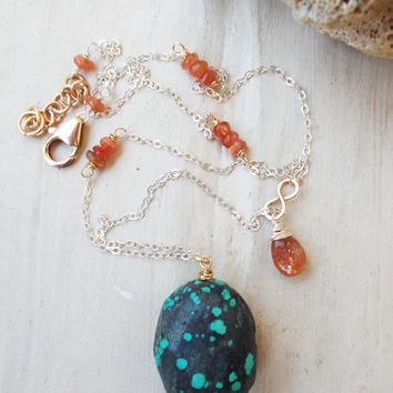 Turquoise nugget & sunstone accent sterling silver necklace, 14k gold fill adjustable fine artisan jewelry, faceted briolette, assymetric
