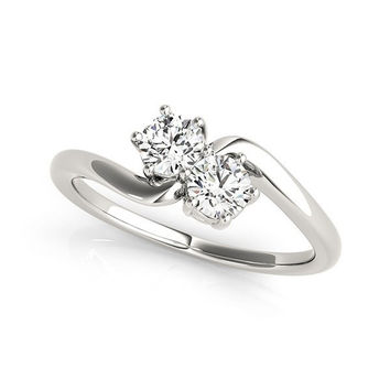 Solitaire Two Stone Diamond Ring in 14K White Gold (1/2 ct. tw.)