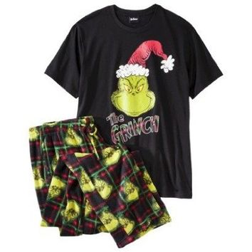 The Grinch Men's 2 pc Sleep Set - Tee & Fleece Pants PJ / Lounge Set Size XL