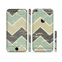 The Vintage Tan & Green Scratch Tall Chevron Sectioned Skin Series for the Apple iPhone 6