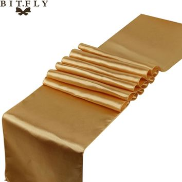 30cmX 275cm 1 piece Satin Table Runner Wedding Decoration 21 colors