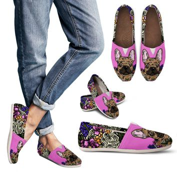 Illustrated French Bulldog Casual Shoes