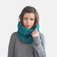 Hand Knit Cowl in Teal, Wool Infinity Scarf, Warm Tube Scarf, Cable Knit Loop Scarf, Womens Scoodie, Unisex Winter Hood / Hand Knitted