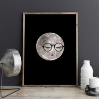 Dorm decor, PRINTABLE art, Dorm room decor, Funny art, Moon art, Moon print, Funny posters, Dorm posters, Moon nursery art, Cute home decor