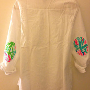 White Oxford with Lilly Pulitzer Elbow Patches