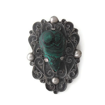Vintage Malachite Tear Drop Pin Brooch with Mexican Silver Victorian Style