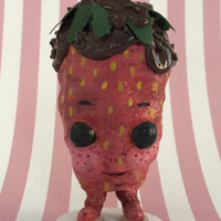 Chocolate Covered Strawberry- anthropomorphic, kawaii, low brow art doll, handmade art toy, spun cotton, fantasy sculpture