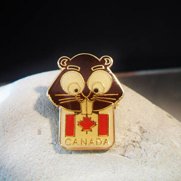 Canadian Flag Beaver Pin Canada Maple Leaf Gift Creations Jewelry Accessories