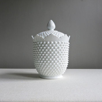 Large Fenton Hobnail Milk Glass Cookie Jar - with Crown Top - 1960s Biscuit Barrel Container