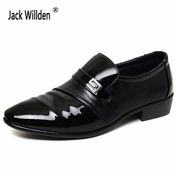 Jack Willden New Fashion Men's Leather Dress Office Shoes Man Wedding Business Flats Oxfords Mens Casual Slip-On Driving Shoe