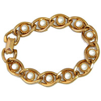 Chunky Pearl Bracelet Chain Link 7 inch