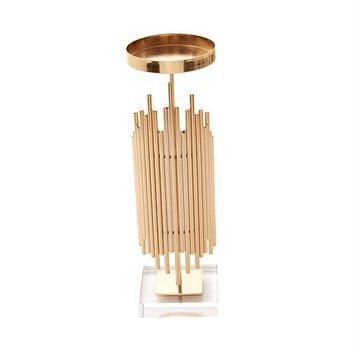 Alluring Metallic Candle Holder, Gold