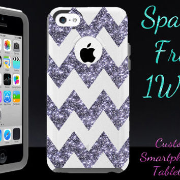 iPhone 5c Otterbox - iPhone 5c Case Otterbox White/Smoke Glitter Large Chevron - Cute Sparkly Custom iPhone 5c Otterbox Cover