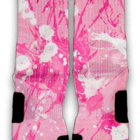 Breast Cancer A Splash of Pink Custom Elite Socks
