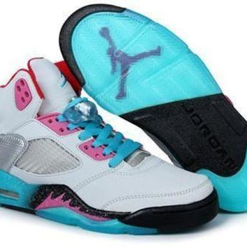 LMFIW1 Cheap Air Jordan 5 Men Shoes Miami Vice Grey Teal Pink