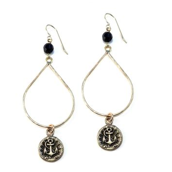 ANCHOR Large Teardrop Antique Button Earrings - BRONZE w/ gemstone