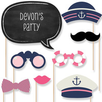 Baby Shower Photo Booth Props Kit - Ahoy - Nautical Girl