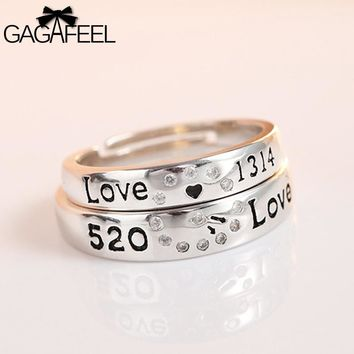 GAGAFEEL 100% Genuine 925 Sterling Silver Ring For Lover Couple Men Women Trendy Adjustable Design With Letter To Propose Party