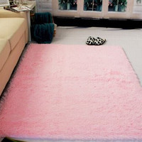 Super Soft Modern Shag Area Silky Smooth Rugs Living Room Carpet Bedroom Rug for Children Play Solid Home Decorator Floor Rug and Carpets 4- Feet By 5- Feet (Pink)