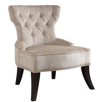 Office Star Colton Vintage Style Button Tufted Velvet Chair with Nailhead Detail and Spring Seat in Brilliance Parchment Cream Fabric [CLT-B45]