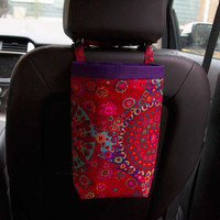 Car Trash Bag - Millefiore Red ~ Purple Band ~ Headrest Handle ~ Oilcloth Lining