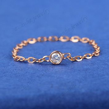 Women SI Natural Diamond Lady Wedding Ring Solid 18k Rose Gold Chain Band Trendy