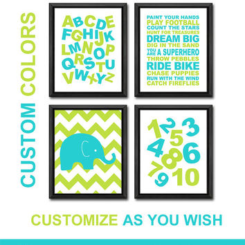 lime aqua ABC numbers art playroom rules quote boy decor alphabet nursery boy wall art boys room decor playroom art ABC wall art boy gift