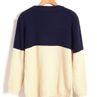 Vintage Color Block Diamond Knit Sweater