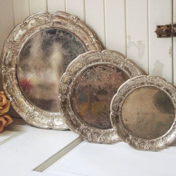 Rustic Farmhouse Metal Trays, Ornate Distressed Serving Tray Set, Floral Detail, Light Weight Tray Platter, Shabby Chic Decorative Trays