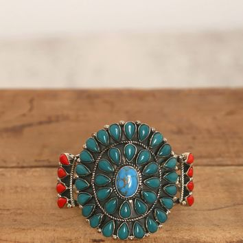 Sun Burst Cuff - Teal - What's New at Gypsy Warrior