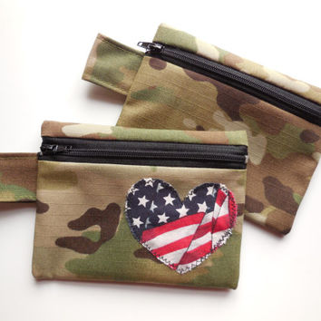 Multicam Zipper Wallet  - Camouflage Coin Purse - Camo Small Change Pouch - OCP Brown Tan Green Woodland - Army Military Soldier Woman Teen