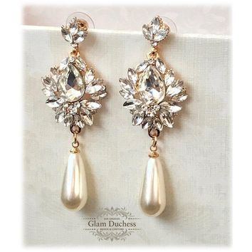 14k Gold Plated Victorian Pearl Drop Wedding Earrings
