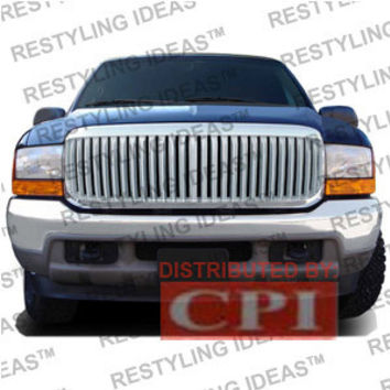 Ford 1999-2004 Ford Superduty F250/350 Chrome Vertical Narrow Bar Abs Grille Performance