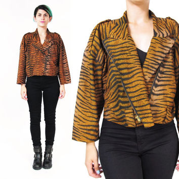 80s Tiger Striped Motorcycle Jacket Cropped Biker Jacket Punk Rocker Brown Cheetah Animal Leopard Print Jacket Boxy Fit Slouchy (M/L)
