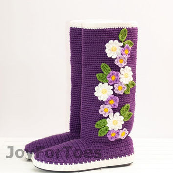 Crochet Boots for the Street Violet Spring Boots Purple Colors Folk Tribal Boots Boho Made to Order