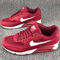 Nike AIR MAX 90 air cushion full leather casual shoes F-CSXY red