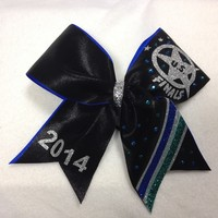 US Finals - Black with Blue and Green : GLITZ Cheer BowZ, Custom Products From Your Head To Your Toes