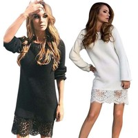 Long Sleeve Warm Lace Knitted Sweater Dresses