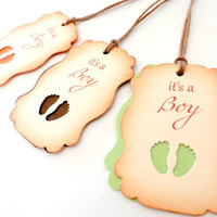 It's a Boy - Pick Your Color - Metallic Foot Print Gift Tags, Baby shower Favors, Baby Shower Tags, Baby Shower Decor