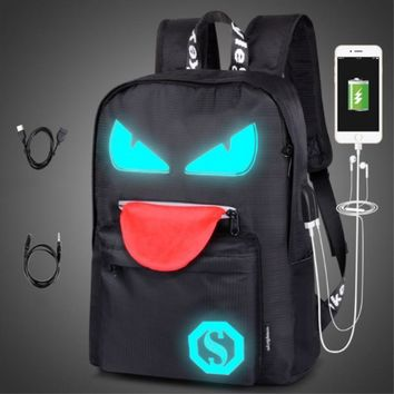 Anti-theft Backpack with USB Charging Port and Earphones Port Laptop Notebook Teen Backpack Luminous Reflected Backpacks