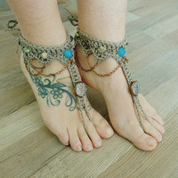 Turquoise boho BAREFOOT sandles barefoot sandals bohemian wedding barefoot Hippie Summer sexy anklet jewelry foot thongs bottomless shoes