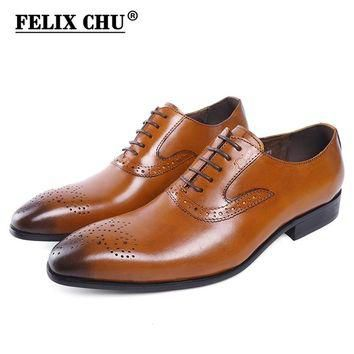 Autumn Genuine Leather Lace Up Men Brown Formal Brogue Shoes Company Business Dress Su