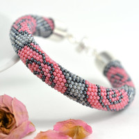 Dusty rose - Classic Bead Crochet Bracelet  Beaded Bracelet  Flower Bracelet Pink Grey Beadwork Jewelry Modern Multi-Colored Colorful Office