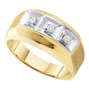 10kt Yellow Gold Mens Round Diamond 3-stone Two-tone Wedding Band Ring 1/10 Cttw - FREE Shipping (US/CAN)