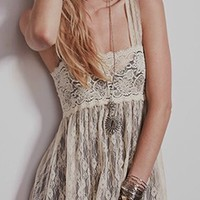 Beige Sheer Lace Sleeveless Square Neck Empire Waist Loose Flowy Maxi Dress
