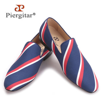 new Square toe blue canvas shoes with striped design Party and Banquet men dress loafers Leather insole men flats
